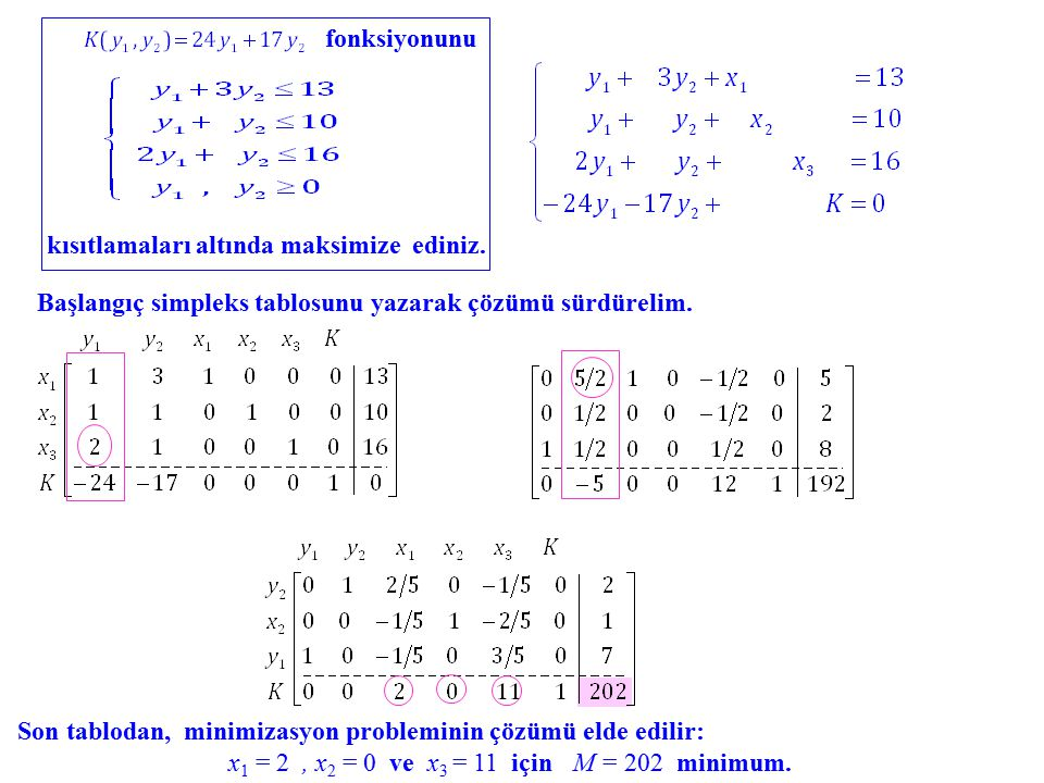 fonksiyonunu kısıtlamaları altında maksimize ediniz.