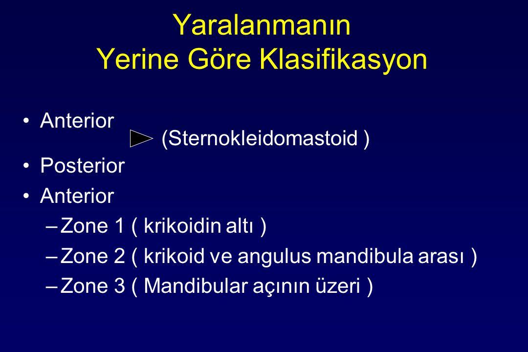 Yaralanmanın Yerine Göre Klasifikasyon Anterior (Sternokleidomastoid ) Posterior Anterior –Zone 1 ( krikoidin altı ) –Zone 2 ( krikoid ve angulus mand