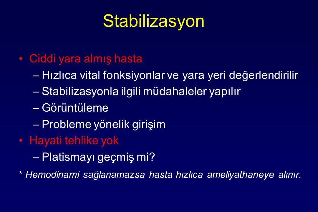Stabilizasyon Ciddi yara almış hasta –Hızlıca vital fonksiyonlar ve yara yeri değerlendirilir –Stabilizasyonla ilgili müdahaleler yapılır –Görüntüleme