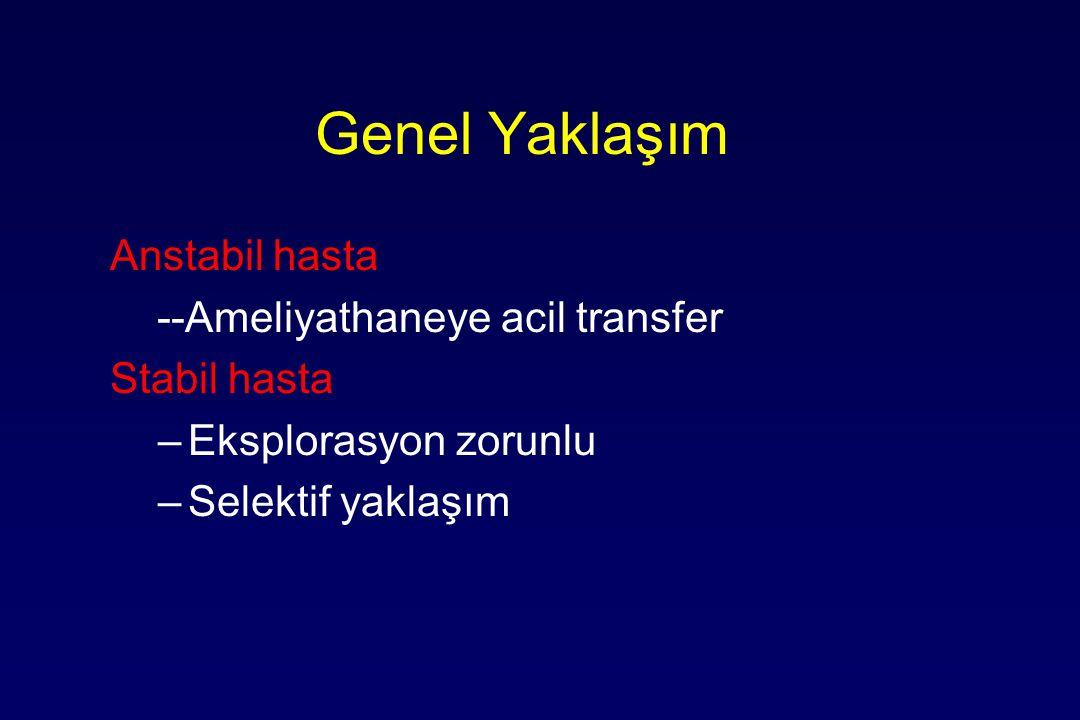 Genel Yaklaşım Anstabil hasta --Ameliyathaneye acil transfer Stabil hasta –Eksplorasyon zorunlu –Selektif yaklaşım