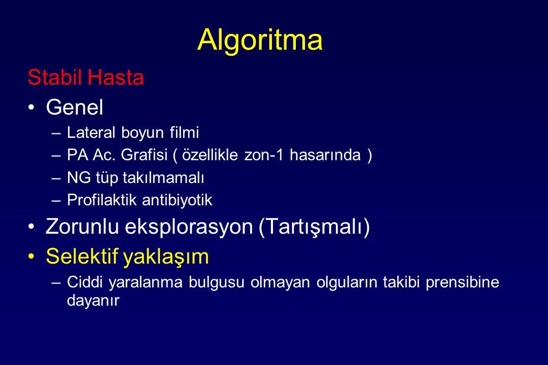 Algoritma Stabil Hasta Genel –Lateral boyun filmi –PA Ac. Grafisi ( özellikle zon-1 hasarında ) –NG tüp takılmamalı –Profilaktik antibiyotik Zorunlu e
