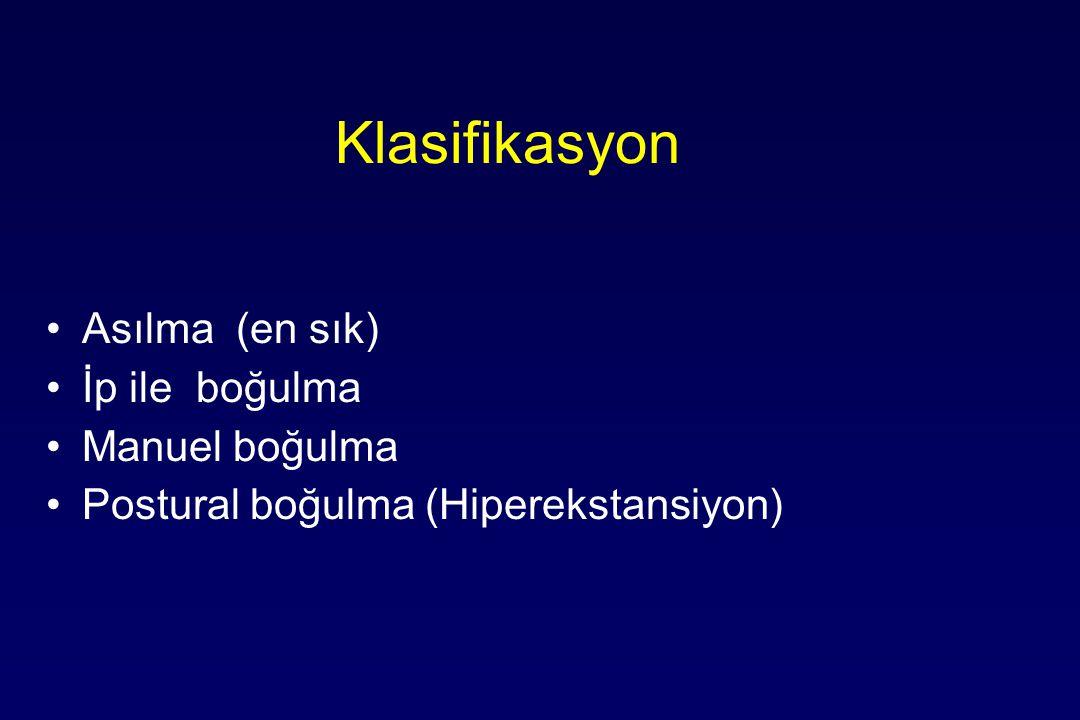 Klasifikasyon Asılma (en sık) İp ile boğulma Manuel boğulma Postural boğulma (Hiperekstansiyon)