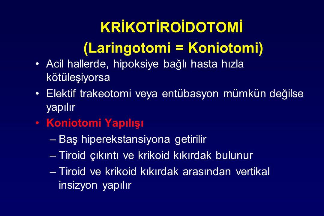 KRİKOTİROİDOTOMİ (Laringotomi = Koniotomi) Acil hallerde, hipoksiye bağlı hasta hızla kötüleşiyorsa Elektif trakeotomi veya entübasyon mümkün değilse