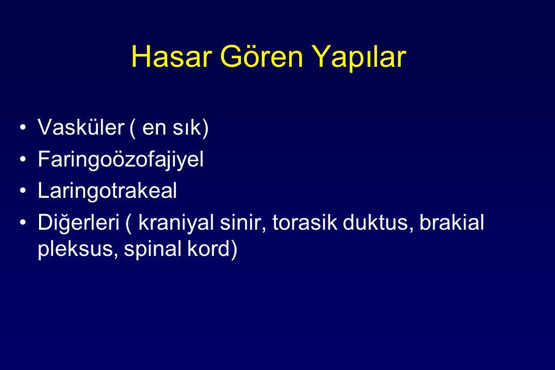 Hasar Gören Yapılar Vasküler ( en sık) Faringoözofajiyel Laringotrakeal Diğerleri ( kraniyal sinir, torasik duktus, brakial pleksus, spinal kord)