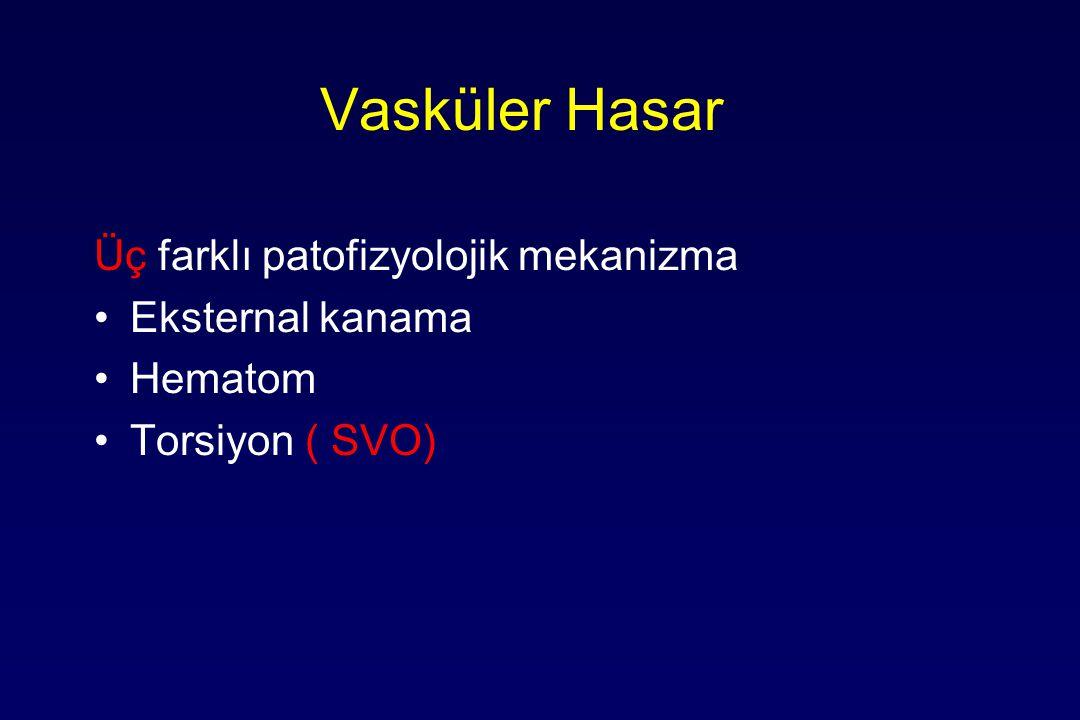 Vasküler Hasar Üç farklı patofizyolojik mekanizma Eksternal kanama Hematom Torsiyon ( SVO)