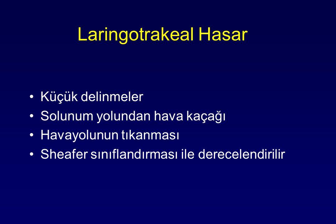 Laringotrakeal Hasar Küçük delinmeler Solunum yolundan hava kaçağı Havayolunun tıkanması Sheafer sınıflandırması ile derecelendirilir