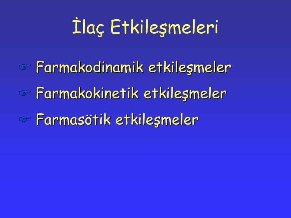 İlaç Etkileşmeleri  Farmakodinamik etkileşmeler  Farmakokinetik etkileşmeler  Farmasötik etkileşmeler