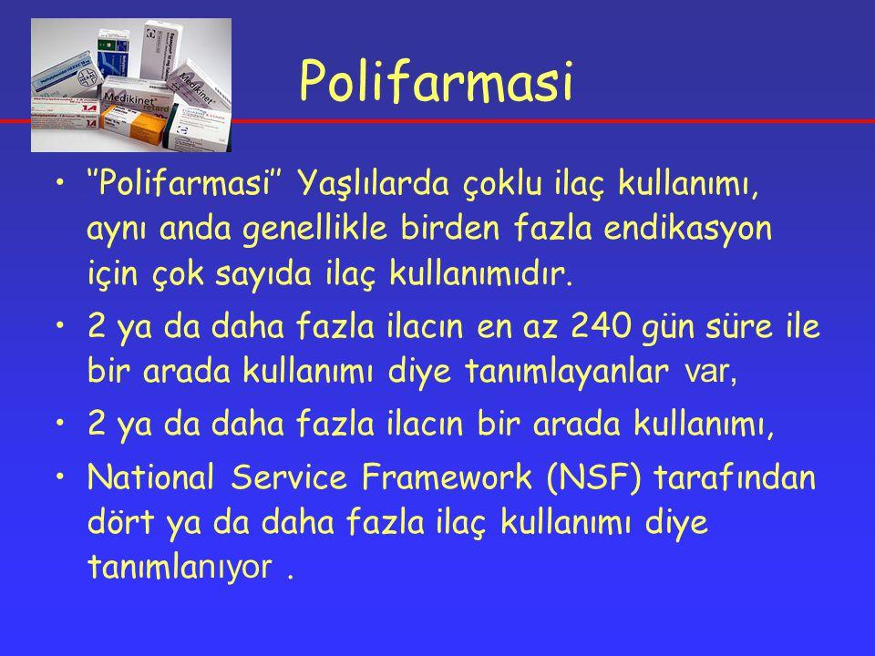 ''Polifarmasi'' Yaşlılarda çoklu ilaç kullanımı, aynı anda genellikle birden fazla endikasyon için çok sayıda ilaç kullanımıdır.