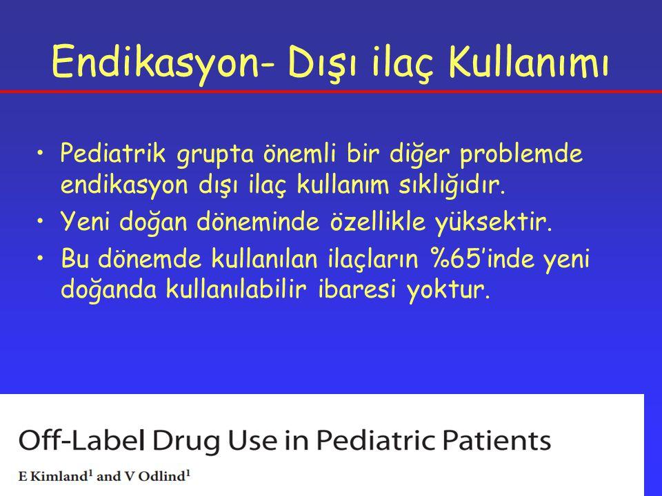 Endikasyon- Dışı ilaç Kullanımı Pediatrik grupta önemli bir diğer problemde endikasyon dışı ilaç kullanım sıklığıdır.