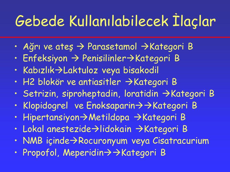 Gebede Kullanılabilecek İlaçlar Ağrı ve ateş  Parasetamol  Kategori B Enfeksiyon  Penisilinler  Kategori B Kabızlık  Laktuloz veya bisakodil H2 blokör ve antiasitler  Kategori B Setrizin, siproheptadin, loratidin  Kategori B Klopidogrel ve Enoksaparin  Kategori B Hipertansiyon  Metildopa  Kategori B Lokal anestezide  lidokain  Kategori B NMB içinde  Rocuronyum veya Cisatracurium Propofol, Meperidin  Kategori B