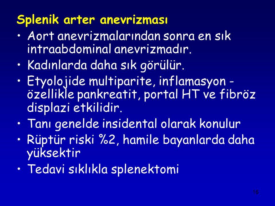 16 Splenik arter anevrizması Aort anevrizmalarından sonra en sık intraabdominal anevrizmadır. Kadınlarda daha sık görülür. Etyolojide multiparite, inf