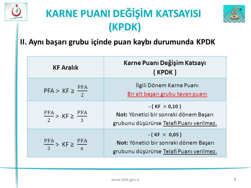 5 KARNE PUANI DEĞİŞİM KATSAYISI (KPDK) II. Aynı başarı grubu içinde puan kaybı durumunda KPDK KF Aralık Karne Puanı Değişim Katsayı ( KPDK ) İlgili Dö