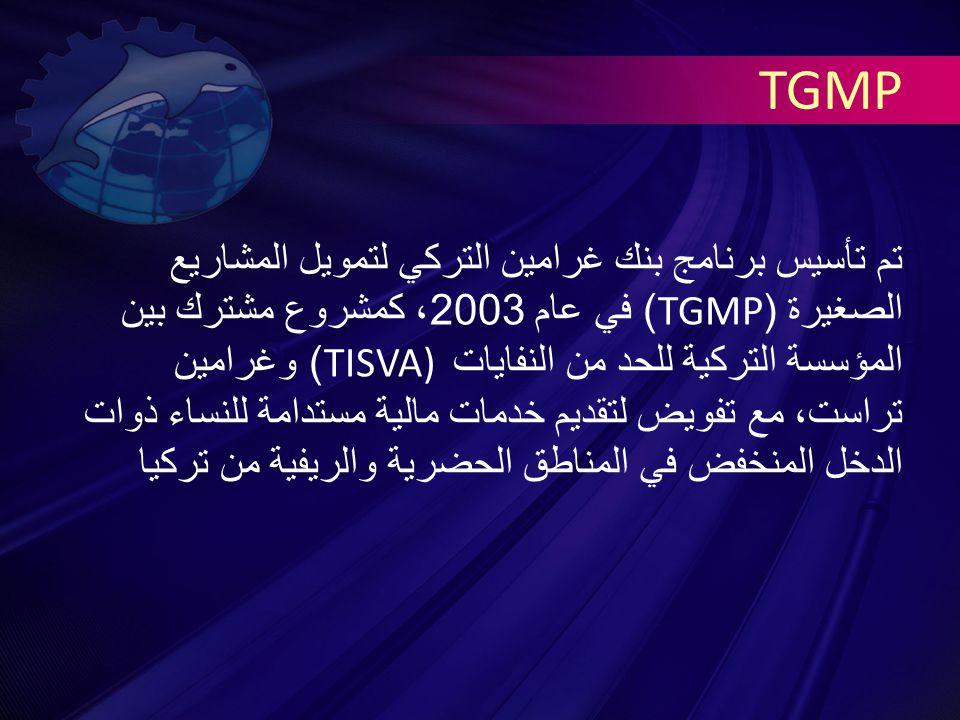 TGMP تم تأسيس برنامج بنك غرامين التركي لتمويل المشاريع الصغيرة (TGMP) في عام 2003 ، كمشروع مشترك بين المؤسسة التركية للحد من النفايات TISVA) ) وغرامين