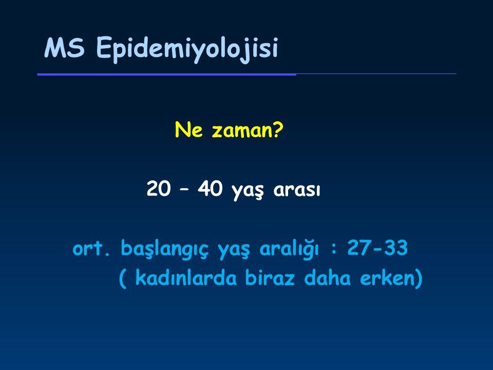 MS Epidemiyolojisi Ne zaman.20 – 40 yaş arası ort.