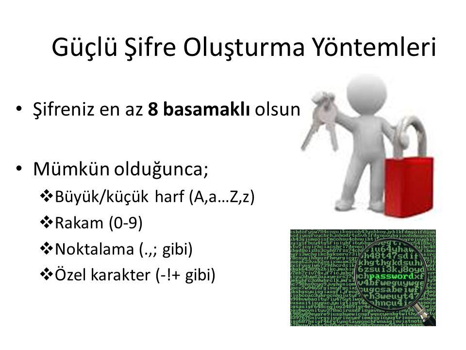 Güçlü Şifre Oluşturma Yöntemleri Şifreniz en az 8 basamaklı olsun. Mümkün olduğunca;  Büyük/küçük harf (A,a…Z,z)  Rakam (0-9)  Noktalama (.,; gibi)