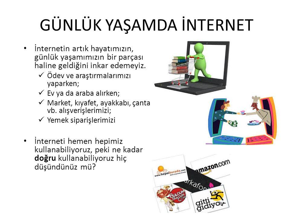GÜNLÜK YAŞAMDA İNTERNET İnternetin artık hayatımızın, günlük yaşamımızın bir parçası haline geldiğini inkar edemeyiz. Ödev ve araştırmalarımızı yapark