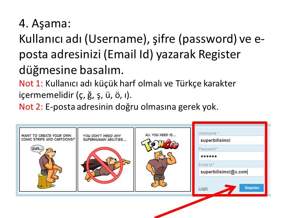 4. Aşama: Kullanıcı adı (Username), şifre (password) ve e- posta adresinizi (Email Id) yazarak Register düğmesine basalım. Not 1: Kullanıcı adı küçük