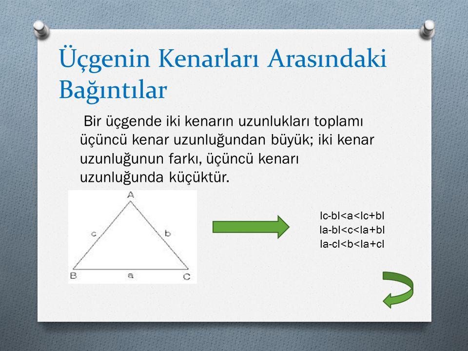 Üçgenin Kenarları Arasındaki Bağıntılar Bir üçgende iki kenarın uzunlukları toplamı üçüncü kenar uzunluğundan büyük; iki kenar uzunluğunun farkı, üçün