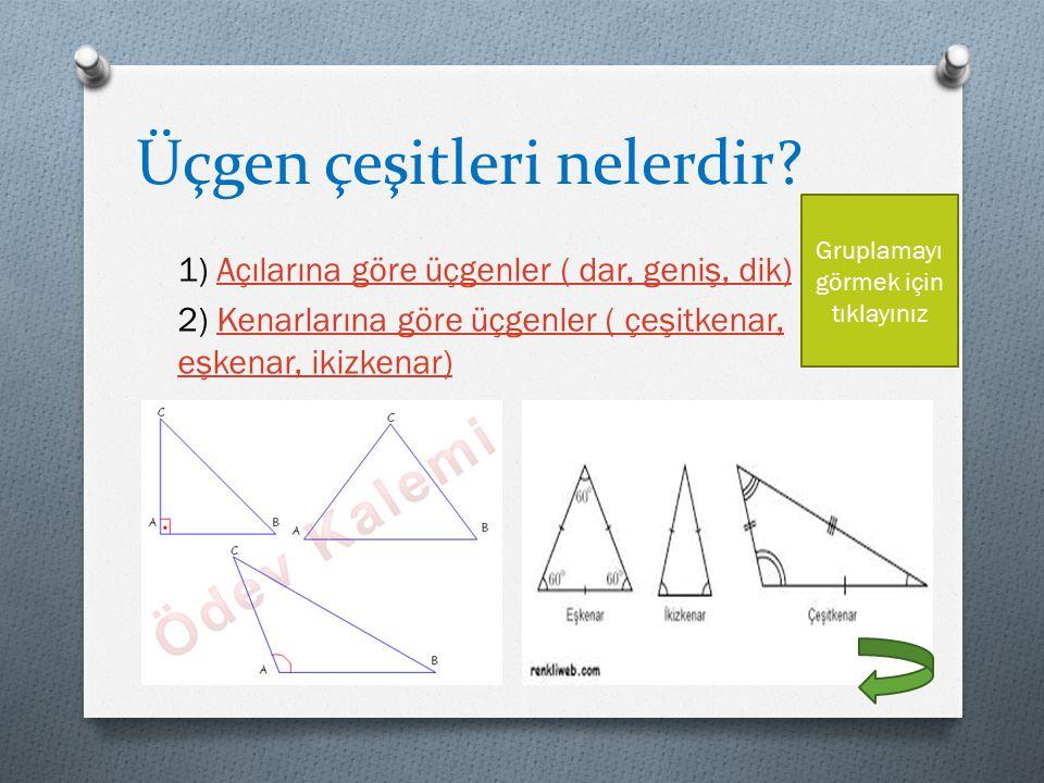 Üçgen çeşitleri nelerdir? 1) Açılarına göre üçgenler ( dar, geniş, dik)Açılarına göre üçgenler ( dar, geniş, dik) 2) Kenarlarına göre üçgenler ( çeşit