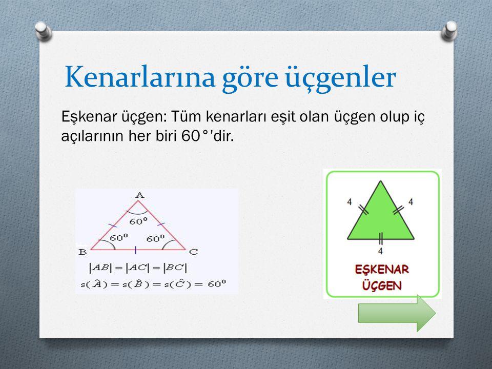 Kenarlarına göre üçgenler Eşkenar üçgen: Tüm kenarları eşit olan üçgen olup iç açılarının her biri 60°'dir.