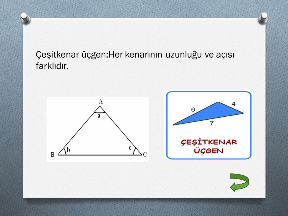 Çeşitkenar üçgen:Her kenarının uzunluğu ve açısı farklıdır.