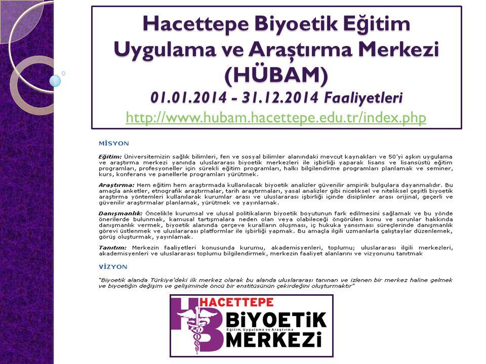 Hacettepe Biyoetik E ğ itim Uygulama ve Araştırma Merkezi (HÜBAM) 01.01.2014 - 31.12.2014 Faaliyetleri Hacettepe Biyoetik E ğ itim Uygulama ve Araştırma Merkezi (HÜBAM) 01.01.2014 - 31.12.2014 Faaliyetleri http://www.hubam.hacettepe.edu.tr/index.php http://www.hubam.hacettepe.edu.tr/index.php