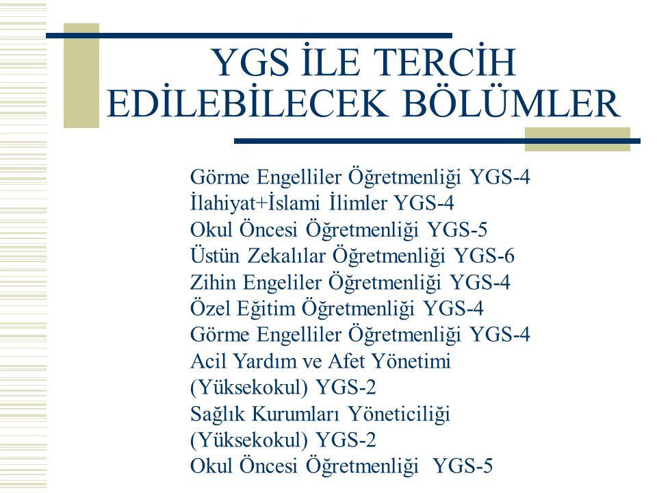 YGS İLE TERCİH EDİLEBİLECEK BÖLÜMLER Görme Engelliler Öğretmenliği YGS-4 İlahiyat+İslami İlimler YGS-4 Okul Öncesi Öğretmenliği YGS-5 Üstün Zekalılar Öğretmenliği YGS-6 Zihin Engeliler Öğretmenliği YGS-4 Özel Eğitim Öğretmenliği YGS-4 Görme Engelliler Öğretmenliği YGS-4 Acil Yardım ve Afet Yönetimi (Yüksekokul) YGS-2 Sağlık Kurumları Yöneticiliği (Yüksekokul) YGS-2 Okul Öncesi Öğretmenliği YGS-5