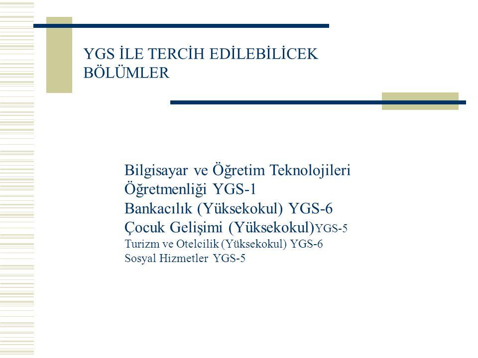 Bilgisayar ve Öğretim Teknolojileri Öğretmenliği YGS-1 Bankacılık (Yüksekokul) YGS-6 Çocuk Gelişimi (Yüksekokul) YGS-5 Turizm ve Otelcilik (Yüksekokul) YGS-6 Sosyal Hizmetler YGS-5 YGS İLE TERCİH EDİLEBİLİCEK BÖLÜMLER
