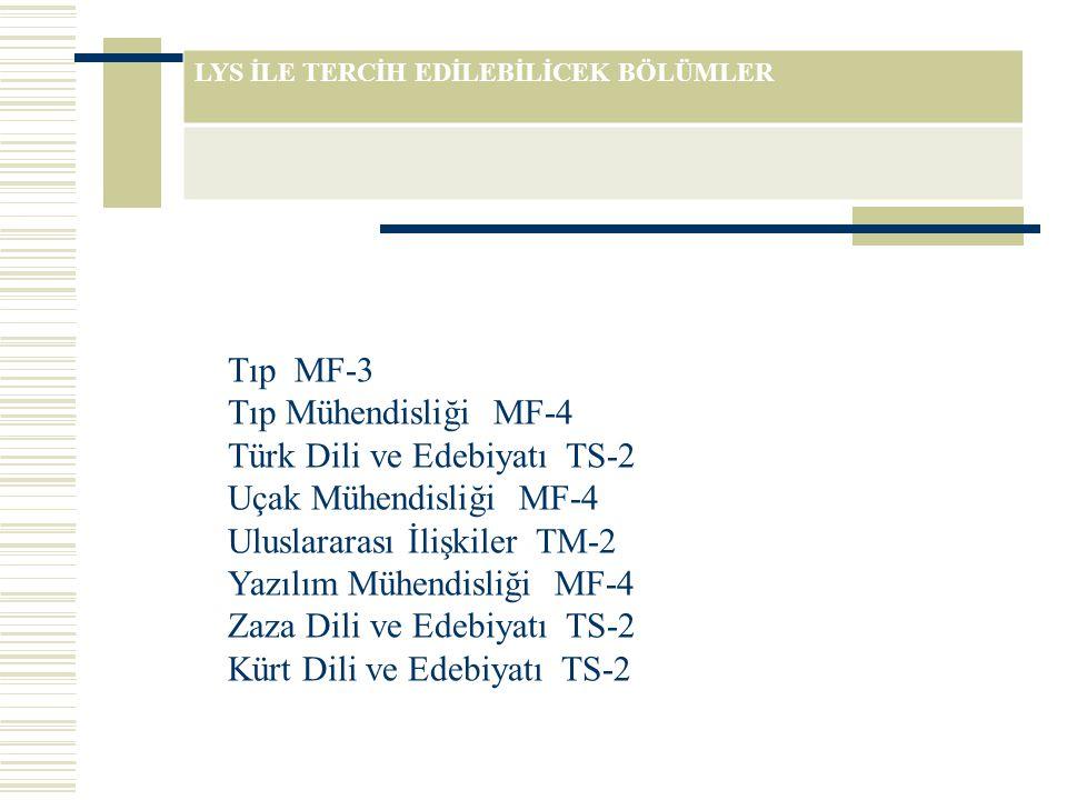 LYS İLE TERCİH EDİLEBİLİCEK BÖLÜMLER Tıp MF-3 Tıp Mühendisliği MF-4 Türk Dili ve Edebiyatı TS-2 Uçak Mühendisliği MF-4 Uluslararası İlişkiler TM-2 Yaz