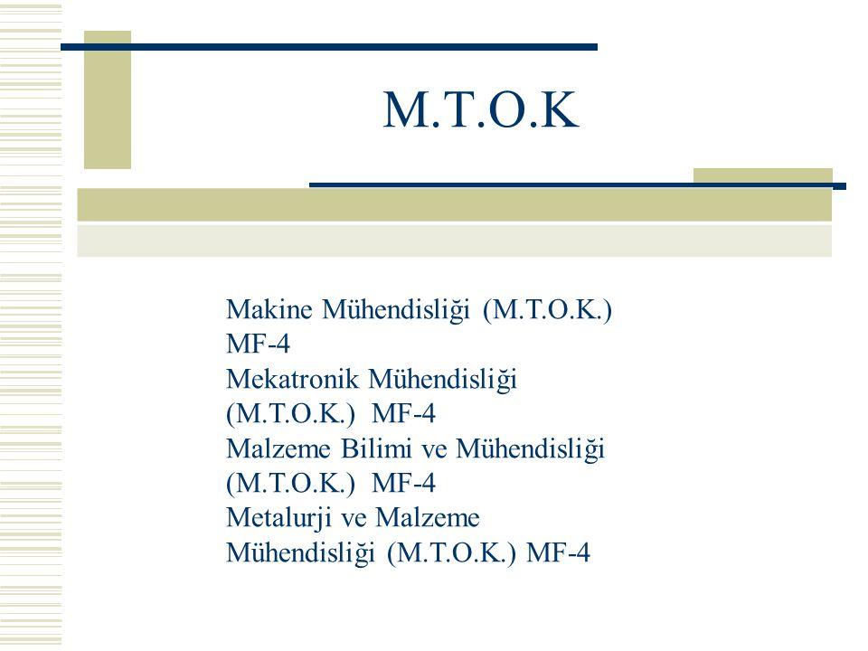 M.T.O.K Makine Mühendisliği (M.T.O.K.) MF-4 Mekatronik Mühendisliği (M.T.O.K.) MF-4 Malzeme Bilimi ve Mühendisliği (M.T.O.K.) MF-4 Metalurji ve Malzeme Mühendisliği (M.T.O.K.) MF-4