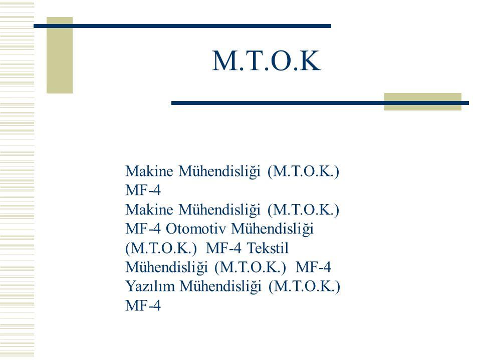 M.T.O.K Makine Mühendisliği (M.T.O.K.) MF-4 Makine Mühendisliği (M.T.O.K.) MF-4 Otomotiv Mühendisliği (M.T.O.K.) MF-4 Tekstil Mühendisliği (M.T.O.K.) MF-4 Yazılım Mühendisliği (M.T.O.K.) MF-4