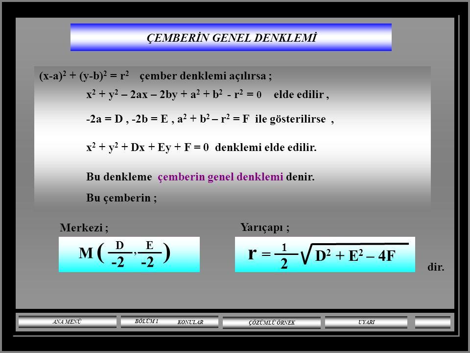 MERKEZCİL ÇEMBERİN DENKLEMİ Merkezi O (0,0) ve yarıçapı r olan çembere merkezcil çember denir. Merkezcil çemberin denklemi ; (x- 0 ) 2 + (y- 0 ) 2 = r