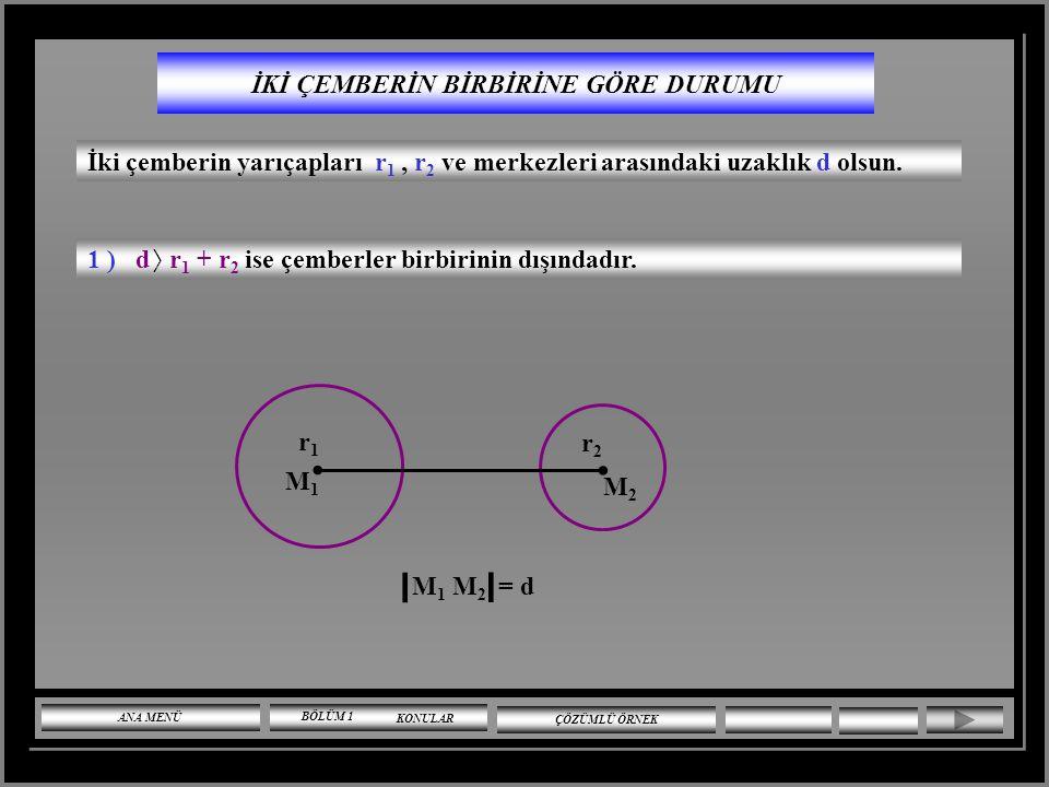 UYARI Çemberin denklemi x ve y'ye göre ikinci derecedendir. Ancak x ve y ye göre ikinci dereceden her denklem çember belirtmez. x ve y'ye göre ikinci