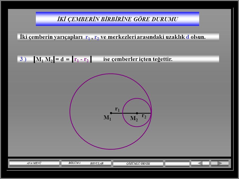 İKİ ÇEMBERİN BİRBİRİNE GÖRE DURUMU İki çemberin yarıçapları r 1, r 2 ve merkezleri arasındaki uzaklık d olsun. 2 ) r 1 + r 2 ise çemberler dıştan teğe