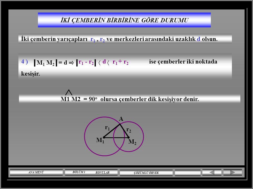 İKİ ÇEMBERİN BİRBİRİNE GÖRE DURUMU İki çemberin yarıçapları r 1, r 2 ve merkezleri arasındaki uzaklık d olsun. 3 ) r 1 - r 2 ise çemberler içten teğet