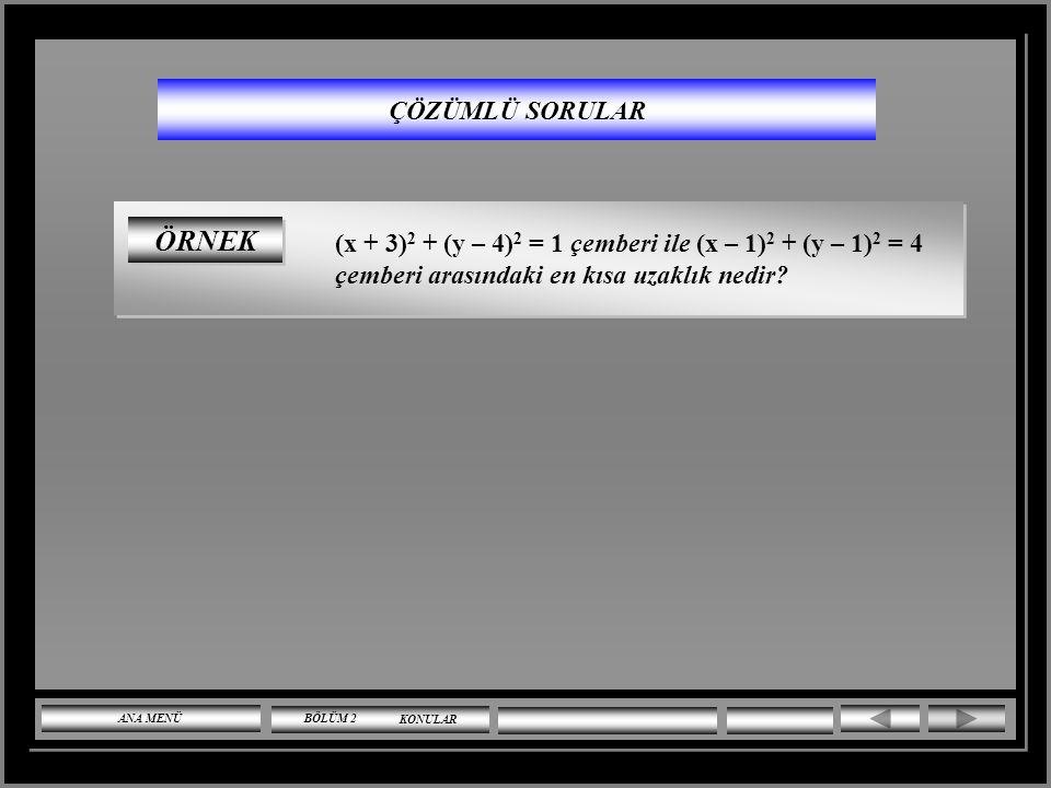 ÇÖZÜMLÜ SORULAR ÇÖZÜM k – 1 0 olmalıdır. ( x.y' li terim bulunmayacağından ) k = 1 için denklem ; x 2 + y 2 – 4x + 3 = 0 olur. D -4, E 0, F 3 (-4) 2 +