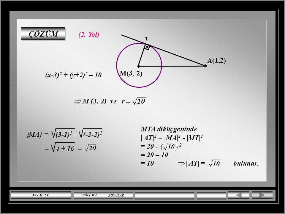 ÇÖZÜMLÜ SORULAR (x-3) 2 + (y+2) 2 = 10 çemberine dışındaki A(1,2) noktasından çizilen teğet uzunluğu kaçtır? ÇÖZÜM (1. Yol) (x-3) 2 + (y+2) 2 – 10 = 0