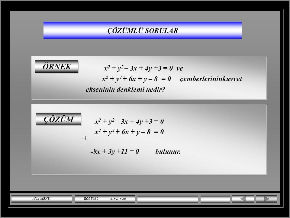 ÇÖZÜMLÜ SORULAR y = 2x + n doğrusunun x 2 + y 2 = 20 çemberine teğet olması için '' n'' ne olmalıdır? ÇÖZÜM m 2, r 2 20 değerlerini r 2 (1 + m 2 ) = n