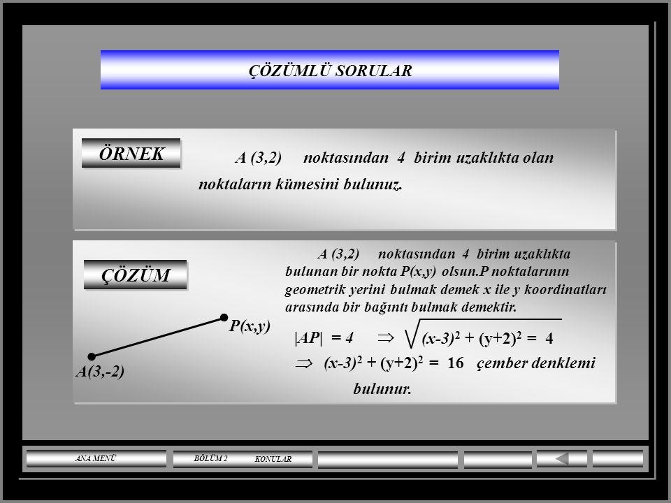 ÇÖZÜMLÜ SORULAR x 2 + y 2 – 3x + 4y +3 = 0 ve x 2 + y 2 + 6x + y – 8 = 0 çemberlerininkuvvet ekseninin denklemi nedir? ÇÖZÜM x 2 + y 2 – 3x + 4y +3 =