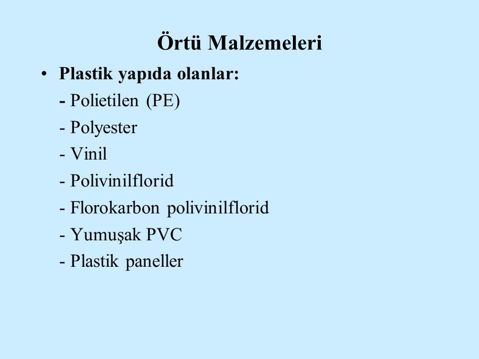 Örtü Malzemeleri Plastik yapıda olanlar: - Polietilen (PE) - Polyester - Vinil - Polivinilflorid - Florokarbon polivinilflorid - Yumuşak PVC - Plastik
