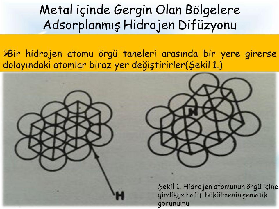 Metal içinde Gergin Olan Bölgelere Adsorplanmış Hidrojen Difüzyonu  Bir hidrojen atomu örgü taneleri arasında bir yere girerse dolayındaki atomlar biraz yer değiştirirler(Şekil 1.) Şekil 1.