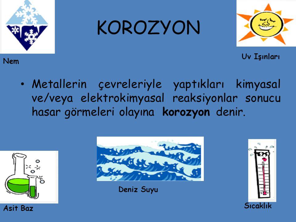 KOROZYON Metallerin çevreleriyle yaptıkları kimyasal ve/veya elektrokimyasal reaksiyonlar sonucu hasar görmeleri olayına korozyon denir.