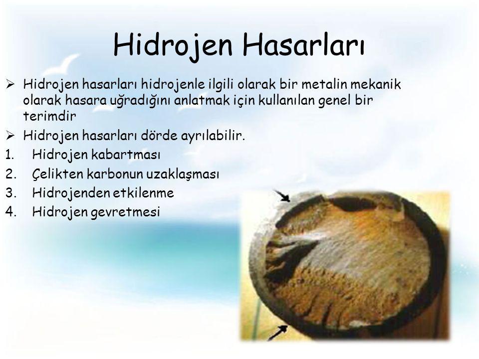 Hidrojen Hasarları  Hidrojen hasarları hidrojenle ilgili olarak bir metalin mekanik olarak hasara uğradığını anlatmak için kullanılan genel bir terimdir  Hidrojen hasarları dörde ayrılabilir.