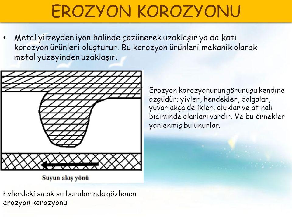 Metal yüzeyden iyon halinde çözünerek uzaklaşır ya da katı korozyon ürünleri oluşturur.