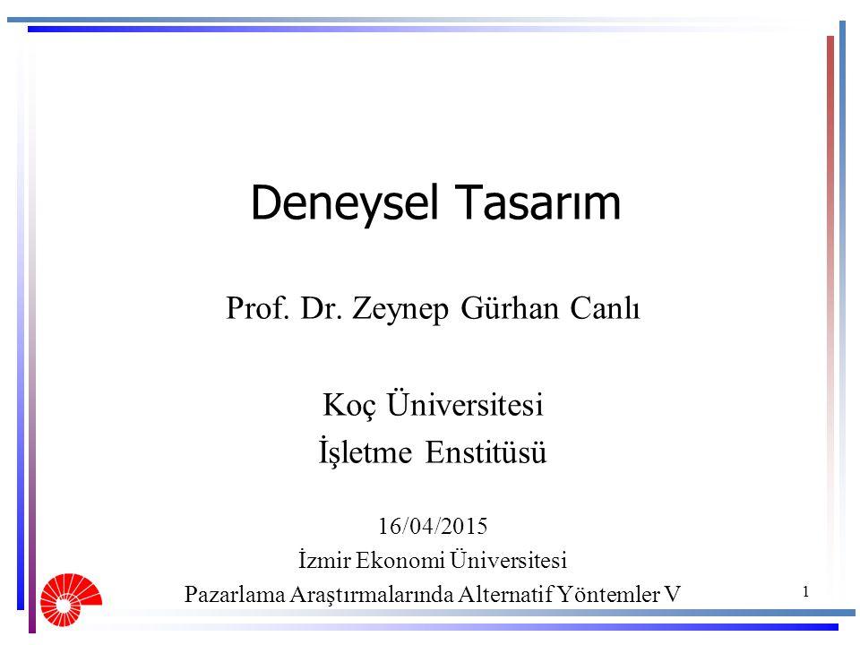 Deneysel Tasarım Prof. Dr. Zeynep Gürhan Canlı Koç Üniversitesi İşletme Enstitüsü 16/04/2015 İzmir Ekonomi Üniversitesi Pazarlama Araştırmalarında Alt