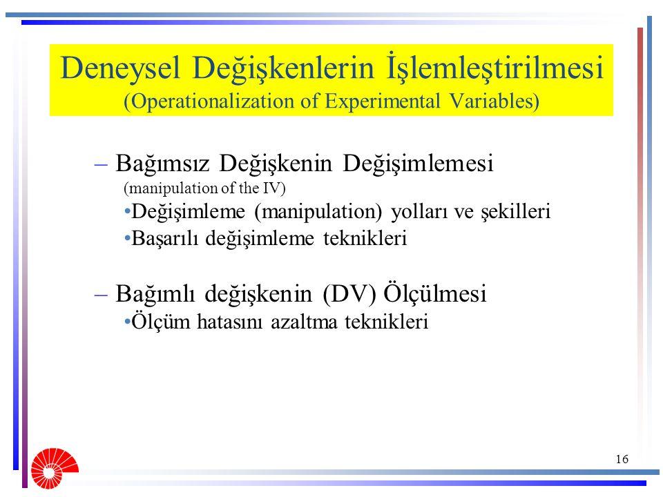 Deneysel Değişkenlerin İşlemleştirilmesi (Operationalization of Experimental Variables) –Bağımsız Değişkenin Değişimlemesi (manipulation of the IV) De