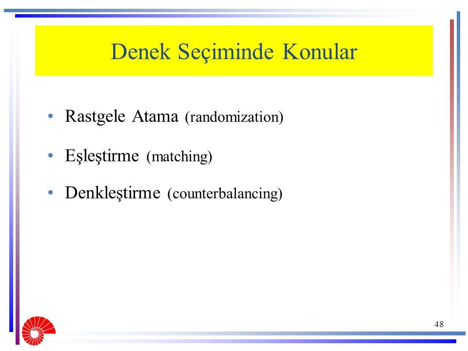 Denek Seçiminde Konular Rastgele Atama (randomization) Eşleştirme (matching) Denkleştirme (counterbalancing) 48