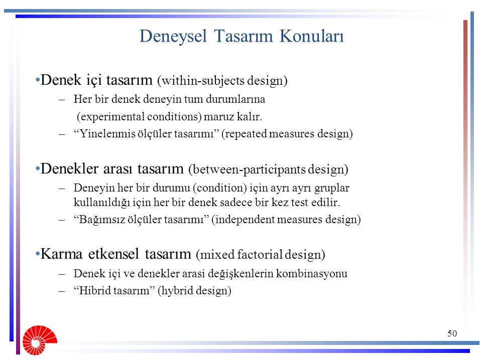 """Deneysel Tasarım Konuları Denek içi tasarım (within-subjects design) –Her bir denek deneyin tum durumlarına (experimental conditions) maruz kalır. –""""Y"""