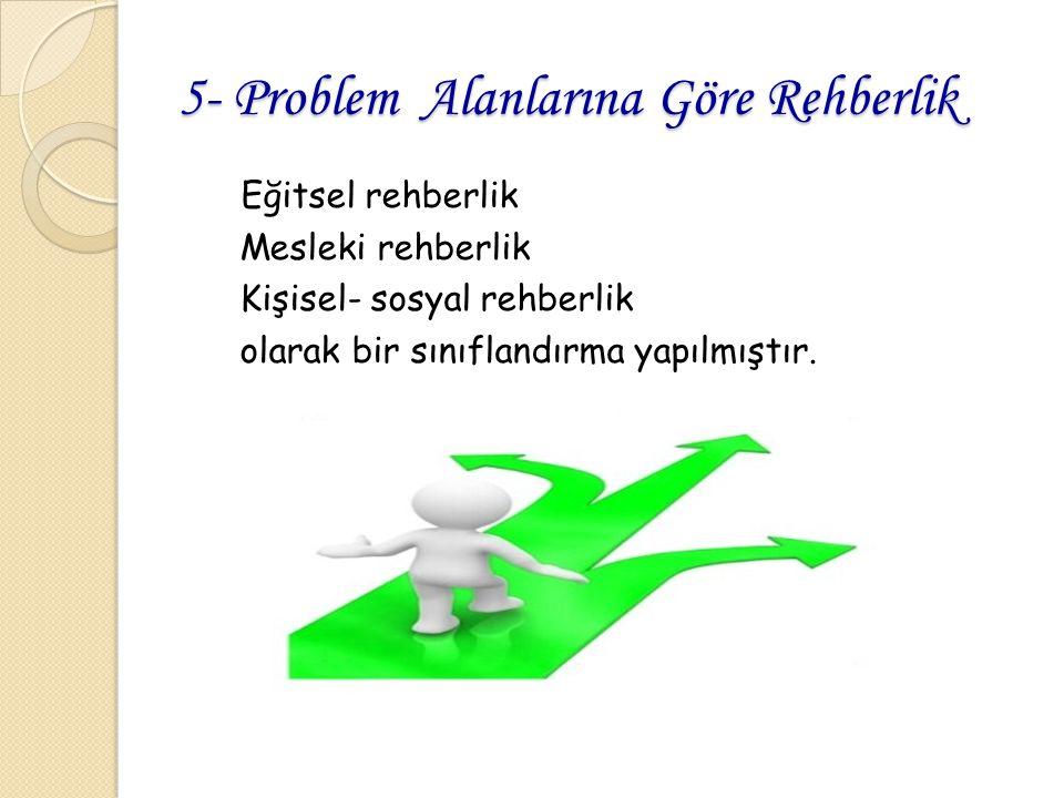 5- Problem Alanlarına Göre Rehberlik Eğitsel rehberlik Mesleki rehberlik Kişisel- sosyal rehberlik olarak bir sınıflandırma yapılmıştır.