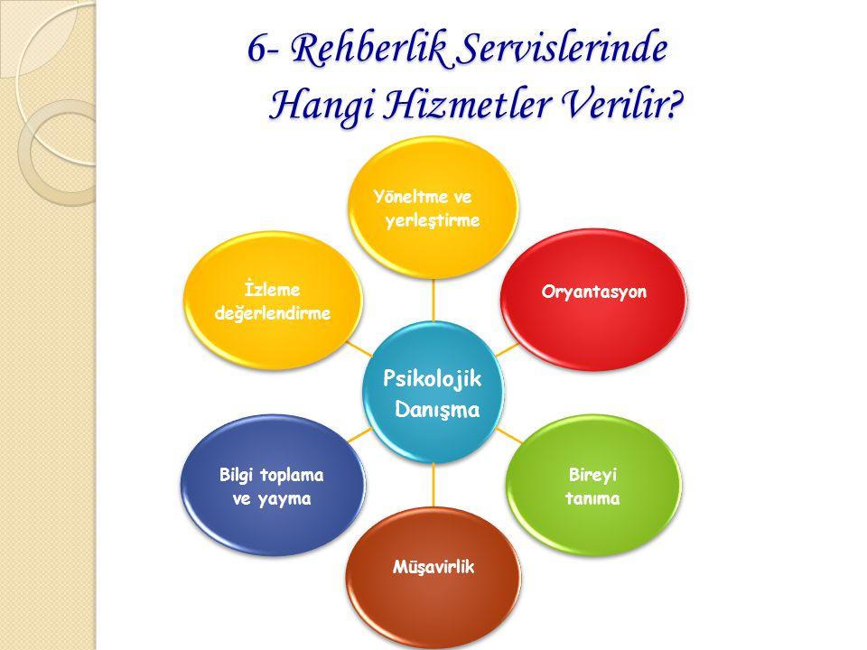 6- Rehberlik Servislerinde Hangi Hizmetler Verilir? 6- Rehberlik Servislerinde Hangi Hizmetler Verilir? Psikolojik Danışma Yöneltme ve yerleştirme Ory